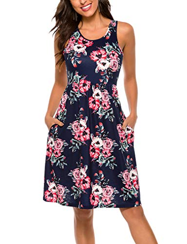 OURS Summer Casual Loose Flower Print Pleated Sleeveless Vest Dress L Navy Blue