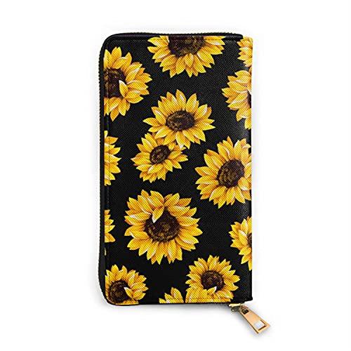 Sunflower - Zip Around Long Wallet - Travel Card Holder - PU Durable Purse - Travel Wallet - Long Coin Purse Clutch for Women