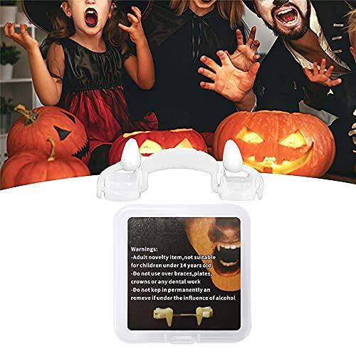 Pipihome Dientes de vampiro retráctiles para Halloween, terribles dientes de vampiro, reutilizables, para niños, adultos, Halloween, carnaval, fiestas, juegos de rol (1 unidad)
