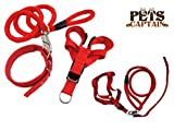 <span class='highlight'><span class='highlight'>PetsCaptain</span></span> Pet Leash,Harness,and Collar Bundle set for Medium dogs and cats, Red, Medium, OWL3-RED-M