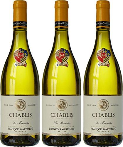 François Martenot France Vin Les Marouettes AOP Chablis 75 cl - Lot de 3