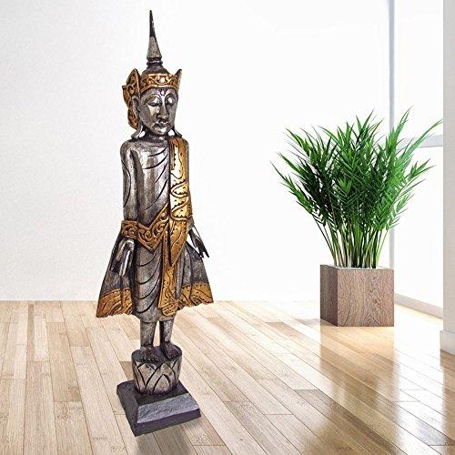 Buddha 100cm Silber Dekofigur Skulptur Holzfigur Buddhafigur Statue Thailand