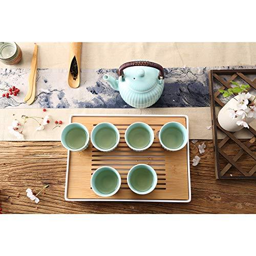 Dujust Japanese Tea Set, Cyan-blue Porcelain Tea Set with 1 Teapot Set, 6 Tea Cups, 1 Tea Tray, 1 Stainless Infuser, Asian Tea Set for Tea Lover/Women/Men (Bamboo Inspiration - Straight Grain Design)