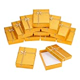 BENECREAT 12 Pack Gold Kraft Cardboard Jewelry Gift Boxes Necklace Ring Box with Bows for...