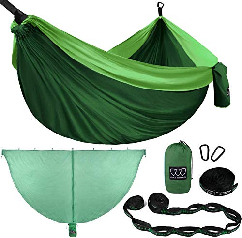 Gold Armour Camping Hammock - Extra Large Double Parachute Hammock (2 Tree Straps 32 Loops,20 ft Included) USA Brand Lightweight Adults Kids, Camping Accessories Gear (Green with Mosquito Bug Net)
