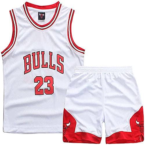WANCHDP Juego de 2 camisetas y pantalones de baloncesto para niños pequeños (3-14 años), 3XS-2XL, Blanco, S