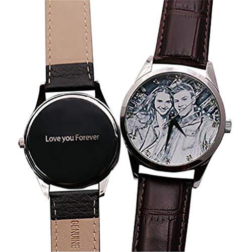 Kundengebundene Mann-Geschäfts-Uhr mit ledernem Band, wasserdichtes Quarz-beiläufige Uhr-personalisiertes Foto-Geschenk