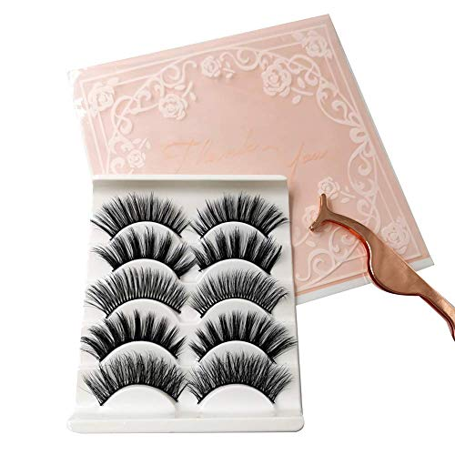 Fleurapance Faux 3D Mink Eyelashes 5 Pairs of 5 Different Styles Reusable Thick Long Fluffy Natural and Dramatic Look For Make up With Free Precision Eyelashes Clip