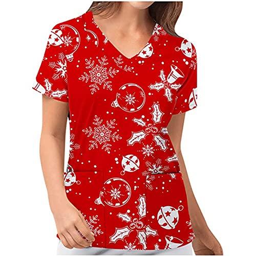 Kasack Damen T-Shirts Bunt Pflege Motiv Weihnachten T-Shirt Schlupfkasack mit Taschen Kurzarm V-Ausschnitt Schlupfhemd Berufskleidung Krankenpfleger Uniformen Nurse Bluse