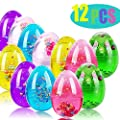AIERVEN 12 Pack Colorful Slime Eggs Putty Toys Easter Eggs for Kids Girls Boys Easter Gift Easter Basket Stuffers Fillers Gifts Slime Egg Toys for Party Favor Bags(Include 4 Packs Color Sequins)