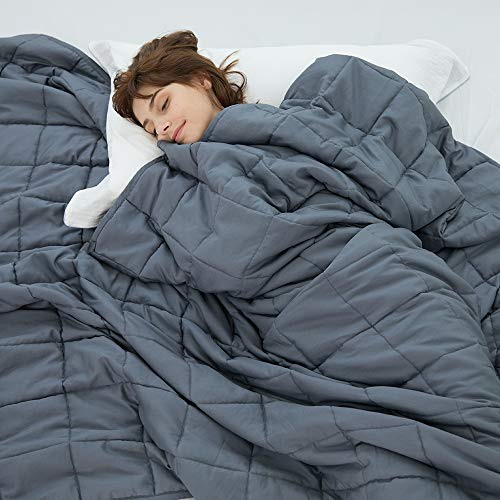 Weighted Idea Adult Weighted Blanket 15 lbs Queen Size (60''x80'', 100% Natural Cotton, Grey)