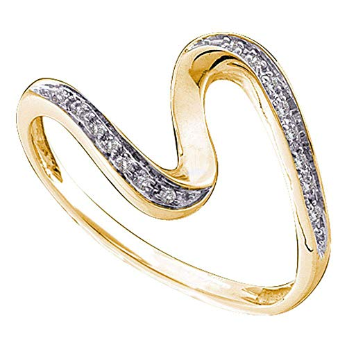 The Diamond Deal 10kt Yellow Gold Womens Round Diamond S Curve Band Ring 1/20 Cttw
