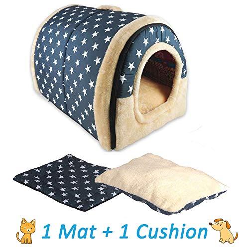 ANPI 2 in 1 Dog House Cat Igloo, Foldable Machine Washable Cat Bed Cave Non-Slip Soft Warm Pet Rabbit House Sofa with Detachable Cushion, 3 Sizes, Multicolour (Large, Blue White Stars)