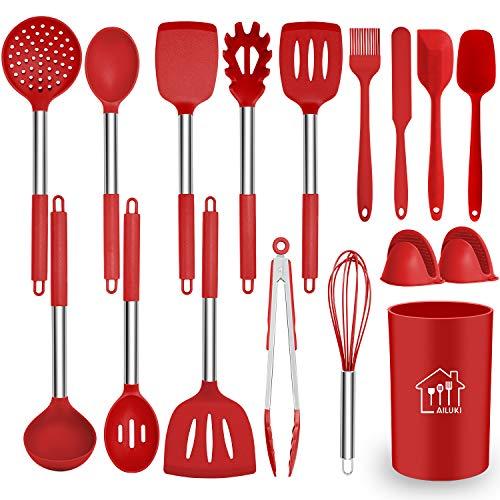 Juego de utensilios de cocina de silicona, 17 piezas, silicona antiadherente resistente al calor, utensilios de cocina con mango de acero inoxidable, color rojo