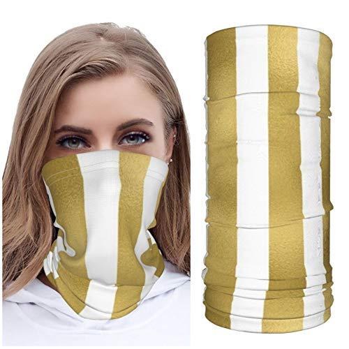 Jack16 Color dorado con rayas desiguales en blanco claro patrón vertical de seda hielo cara M_ask cara cubierta cuello Polaina Headwear pasamontañas transpirable para correr a caballo