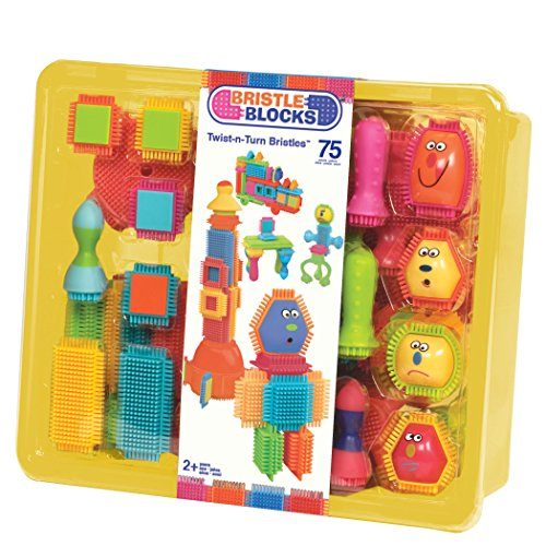 Bristle Blocks by Battat - The Official Bristle Blocks - 75 Pieces in a Storage Bin - Creativity Building Toys for Dexterity and Fine Motricity - BPA Free 2 years +