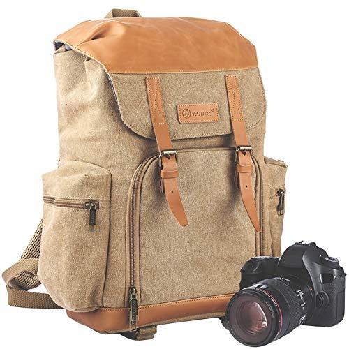 TARION M-02 Kamerarucksack Kameratasche Wasserabweisend aus Canvas Leinenstoff und Echt-Leder...