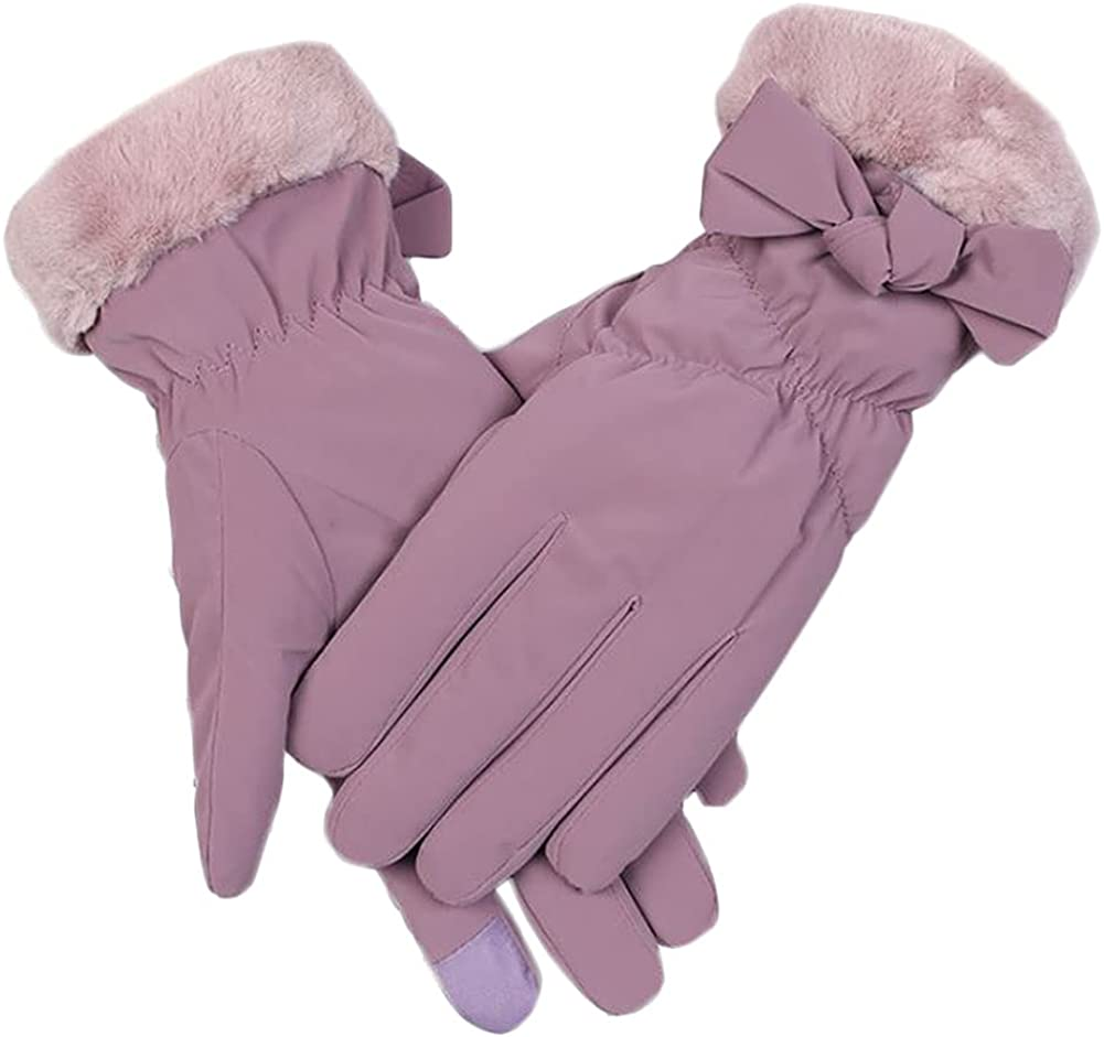 Winter Gloves For Women Fluffy Waterproof Windproof Warm Insulate Mitten Cute Bowknot Cycling Ski Work Cold Weather