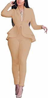 2 Piece Outfits for Women Blazer with Pants Deep V Long Sleeve Slim Fit Ruffle Pelplum Business Suit