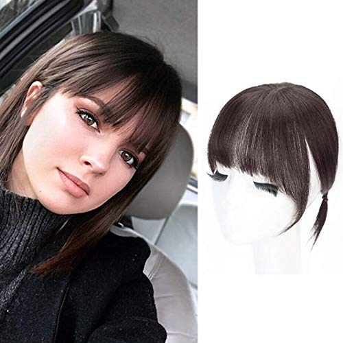 Clip in Bangs 100% Human Hair Flat Bangs with Temples, Natural Real Human Hair Extensions Fringe Bangs, Clip on Bangs Hairpiece for Women
