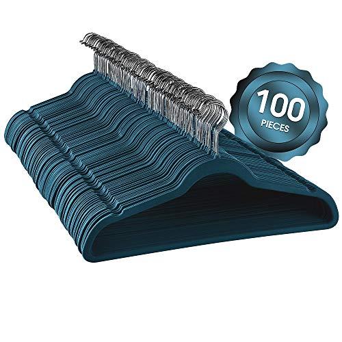 Elama Home ELH100BLUE 100 Piece Set of Velvet Slim Profile Heavy Duty Felt Hangers with Stainless Steel Swivel Hooks in Blue
