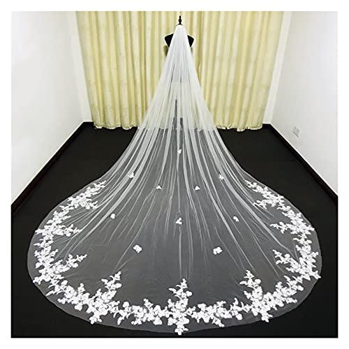 AleXanDer1 Velo de novia de una capa blanco/marfil encaje velo de novia velo de novia velo de aplique catedral velo de boda con peine de metal (color: Ivory, longitud: 500 cm)