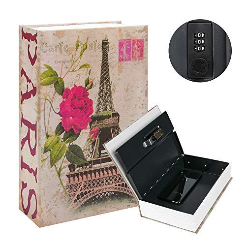 Kyodoled Diversion Book Safe with Combination Lock, Safe Secret Hidden Metal Lock Box,Money Hiding Box,Collection Box,9.5' x 6.2' x 2 .2',France