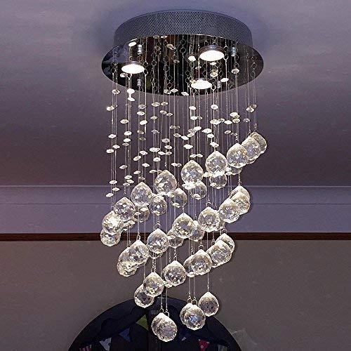 Glighone Lámpara Colgante Cristal 3*GU10 LED 50W Lámpara de Techo Luz Moderna Lámpara de Araña Iluminación Contemporáneo Elegante, Incluye Bombillas