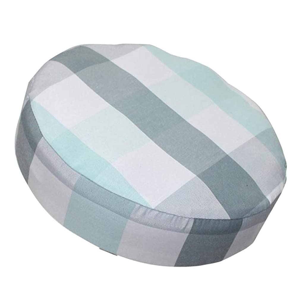 Flameer Non-Slip Round Chair Seat Cover Linen Look Fabric Bar Stool Slipcover with Elastic Band - Grid-33cm
