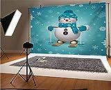 Fondo de vinilo para fotografía de muñeco de nieve de 20 x 15 cm, para esquiar con copos de nieve adornados, vacaciones, para bebé, cumpleaños, boda, estudio, fotografía.