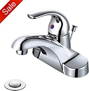 WOWOW Bathroom Faucet 1 Handle Low Arc Lead Free Single Handle 4 inch Centerset Bathroom Sink Faucet with Pop Up Drain Assembly Basin Mixer Tap Chrome Vanity Faucet