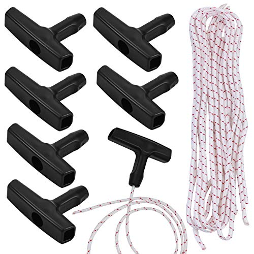 Nexxxi 6 Set Recoil Starter Rope, 3.5 mm Pull Cord with 6 Pieces Starter Handle for Petrol Starter Mower Engine Universal