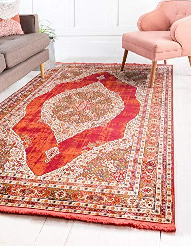 Unique Loom Baracoa Collection Bright Tones Vintage Traditional Red Area Rug (5' x 8')