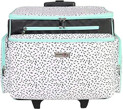 Everything Mary Deluxe Confetti Rolling Sewing Machine Case – Universal Multipurpose Rolling Cart - Compatible w/ Most Brother & Singer Sewing Machines – Includes Removable Tote and Workspace Mat