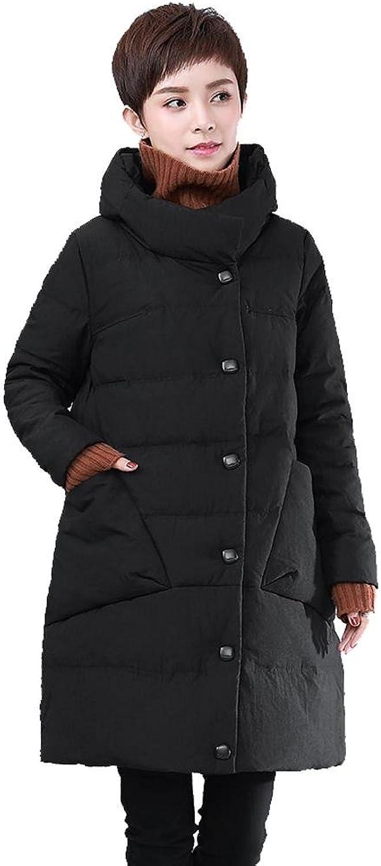 Women Down Jacket Coats Stand Collar Long Sleeve Pocket Lightweight Warm Windproof Thicker Padded Outwear
