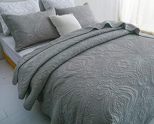 Gesteppt Tagesdecke Baumwolle Doppelbett Bedruckt Tagesdecken Set Bettiberwurf Und 2 Kissenbezüge Einfarbig Decke,GreyB-230X250cm