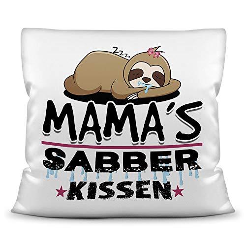 Print Royal Kuschel-Kissen inkl. Füllung mit Spruch für Mama - Mamas Sabber-Kissen - Witziges Muttertagsgeschenk/Geschenk-Idee für Mütter/Muttertag Geburtstag - Kissen Weiß