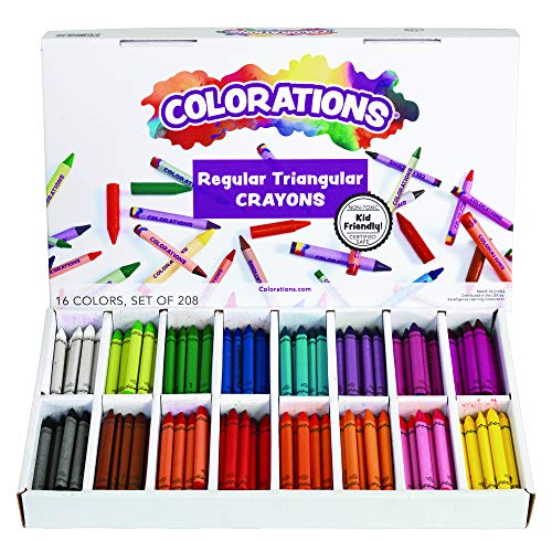 Colorations CRSTC Regular Size Triangular Crayons (Pack of 208),White