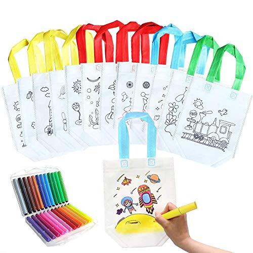 42 Pcs Kinder Stoffbeutel Set,18 Stück DIY Graffiti Non-Woven-Taschen mit 24 Farbe Aquarell Stift für Geburtstagsfeier Geschenke,Schulen,Kindergarten,Feiern (18 Stück)