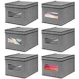mDesign Set da 6 Scatole contenitori con Finestra Trasparente e Coperchio – Contenitore per Giocattoli e Vestiti in Fibra Sintetica – Scatola per Armadio – Grigio Scuro/Nero
