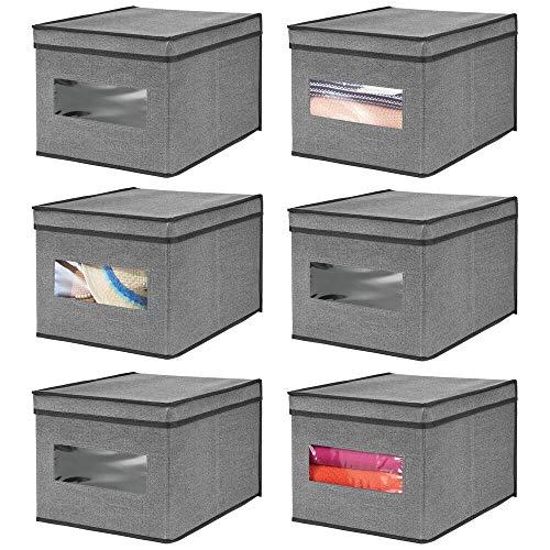 mDesign Stoffbox im 6er-Set – Aufbewahrungsbox aus Stoff – ideal zur Ablage von Kleidung und als Schrankbox – Aufbewahrungskiste mit praktischem Deckel – dunkelgrau/schwarz