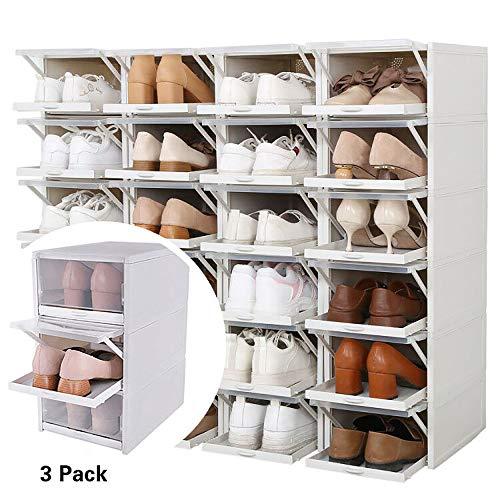 Baffect Organizador de Cajas de Almacenamiento de Zapatos apilables, 3 Paquetes de Cajas de Zapatos de plástico Transparente Cajas de Zapatos extraíbles Almacenamiento Frontal (Gris)