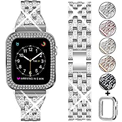 Silver +Clear Rhinestone Metal Wristband Strap with Protective Case