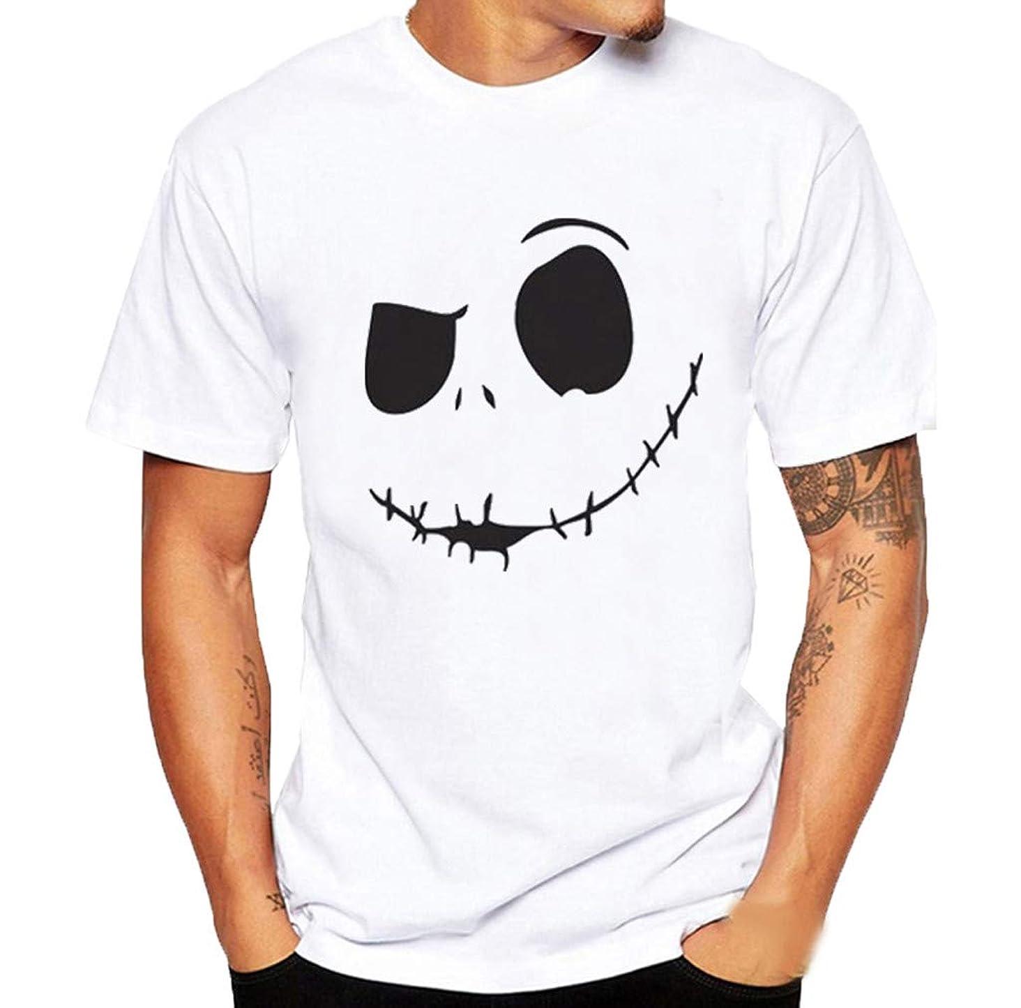 Ximandi Men's Summer Evil Smile Face Printed Round-Collar Comfortable T-shirt Tops