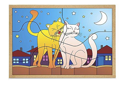 Carlu Brinquedos - Casal Gatos Quebra-Cabeça, 4+ Anos, 6 Peças, Multicolorido, 1244