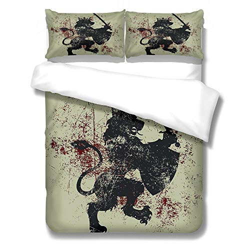 Printed Duvet Cover and 2 Pillowcase Bed Set Lion with sword Ultra Soft Hypoallergenic Microfiber Bedding with Zipper Closure-180x200cm