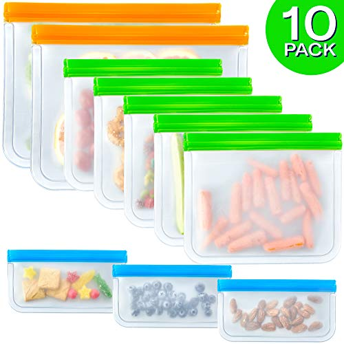 10 Pack Reusable Sandwich Bags FDA Grade Reusable Storage Bags (2 Large 5 Sandwich & 3 Snack Bags), Leakproof Slicone & Plastic Free Lunch Bags, Food Grade PEVA Sandwich Bags and Snack Bags