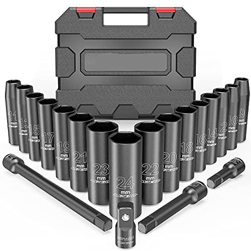 20PCS 1/2-Inch Drive Metric Deep Cr-V Impact Socket Set