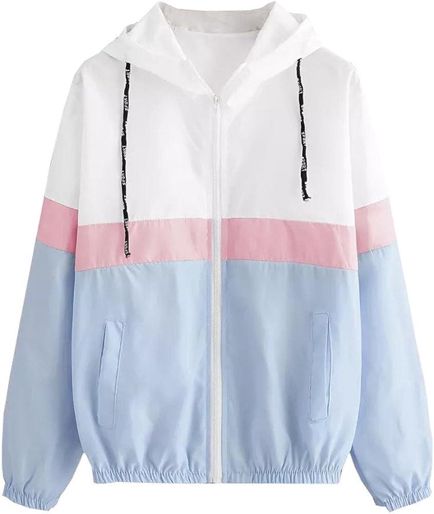 2019 New Women Long Sleeve Patchwork Jacket Thin Skinsuits Hooded Zipper Pockets Sport Coat Outerwear Hoodies