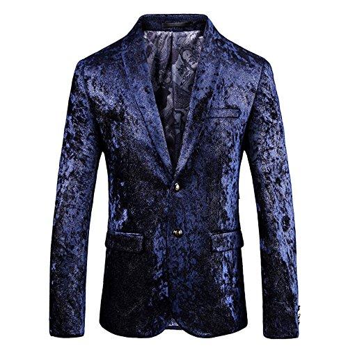Herren 3D-Druck Plus Size Suitjackets Zurück Schnitt British Style Blau Galaxy Space Slim Fit Anzug Jacken